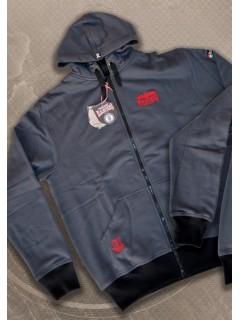 HARCOS kapucnis zipzáras pulóver  piros hímzéssel