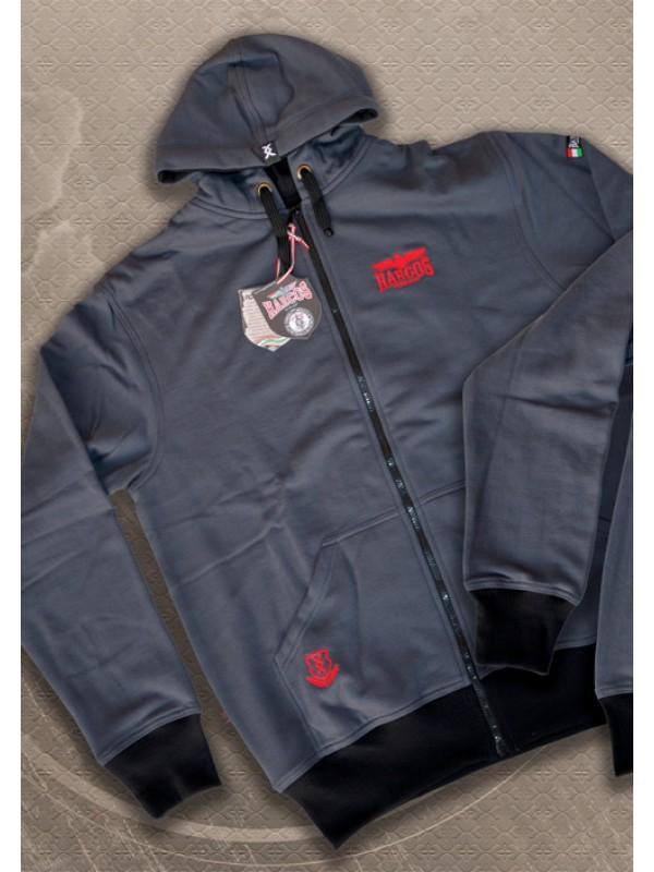 HARCOS kapucnis zipzáras pulóver piros hímzéssel 06d3e42d43