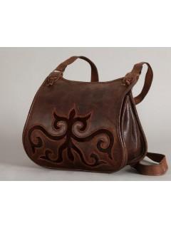 Bőr női táska Turáni ornamentikával, szőrbetéttel díszítve - barna3