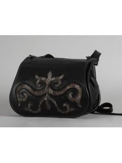 Bőr női táska Turáni ornamentikával, szőrbetéttel díszítve - fekete4