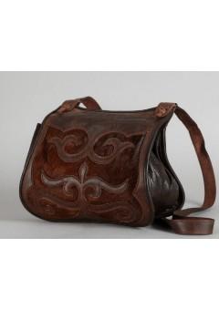 Bőr női táska Turáni ornamentikával, szőrbetéttel díszítve - barna 1