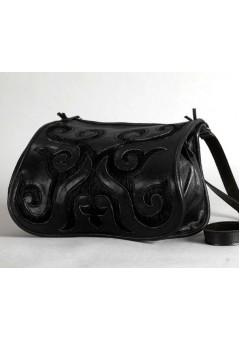 Bőr női táska Turáni ornamentikával - fekete 5