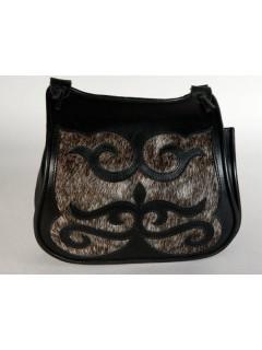 Bőr női táska Turáni ornamentikával - fekete 2