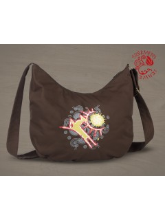 Csodaszarvas festett félhold táska - barna