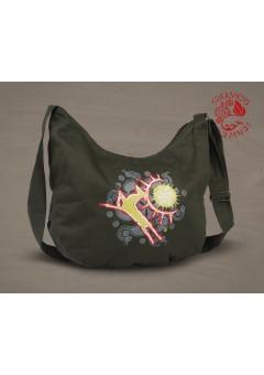 Csodaszarvas festett félhold táska - zöld