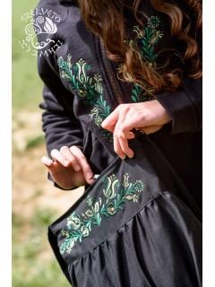 Szervető-jászsági indás-leveles buggyos táska - fekete-zöld