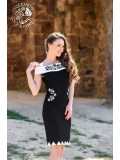 Szervető-kalocsai cakkos aljú ruha - fekete-fehér