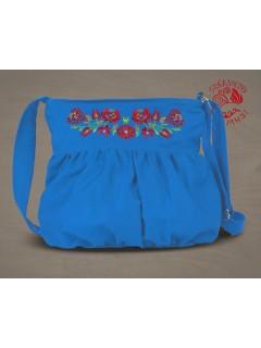 Szervető-matyó buggyos táska - világoskék