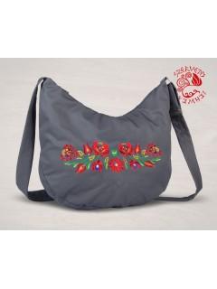 Szervető-matyó félhold táska - szürke, futómintás