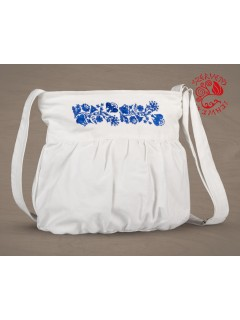 Szervető-kalocsai buggyos táska - fehér-kék