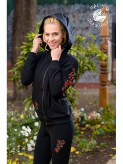 Szervető-matyó aszimmetrikus zipzáras pulóver levehető kapucnival - fekete
