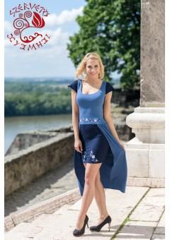 Zselyke ruha - Szervető-vásárhelyi hímzéssel - kék