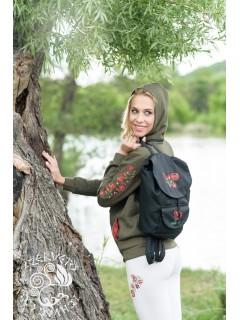 Szervető-matyó hátizsák - fekete