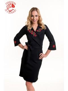 Anna téli ruha Szervető-matyó hímzéssel - fekete-színes 947ba432e4