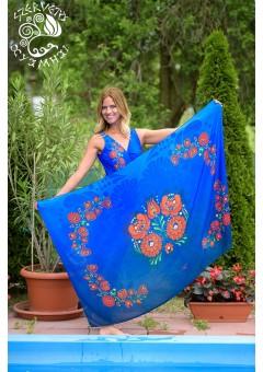 Szervető-matyó egyrészes fürdőruha - kék