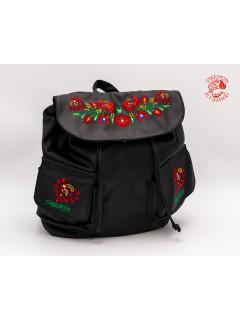 Szervető-matyó textilbőr hátizsák - fekete