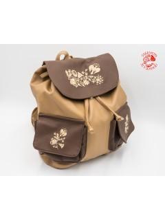 Szervető-kalocsai textilbőr hátizsák - bézs-barna