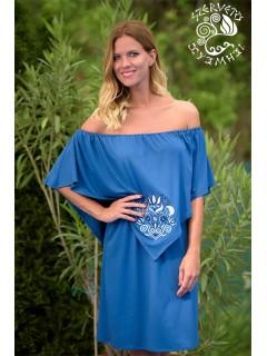 Szellő ruha Szervető-tulipános hímzéssel - kék, nagymintás