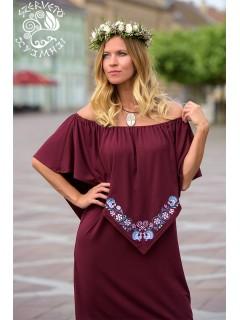 Szellő ruha Szervető-pávás hímzéssel - bordó, futómintás