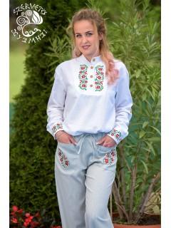 Szervető-tulipános női ing - fehér