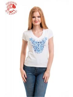 Szervető-jászsági V póló - fehér-kék
