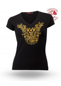 Szervető-jászsági V póló - fekete-arany