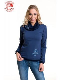 6ac294be5c Szervető-jászsági kámzsás nyakú pulóver - kék