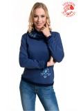 Szervető-jászsági kámzsás nyakú pulóver - kék