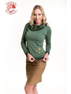 Szervető-jászsági kámzsás nyakú pulóver - zöld