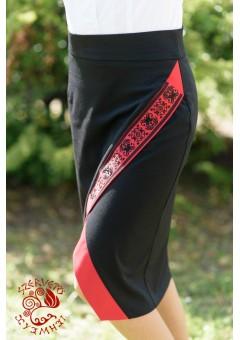 Szervető-torockói lapolt szoknya - fekete-piros
