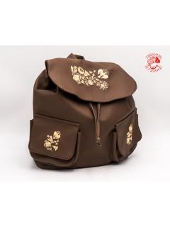 Szervető-kalocsai textilbőr hátizsák - barna-bézs
