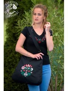 Szervető-tulipános V póló - fekete