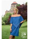 Szellő ruha Szervető-tulipános hímzéssel - kék, futómintás
