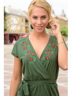 Kincső ruha Szervető-tulipános hímzéssel - zöld
