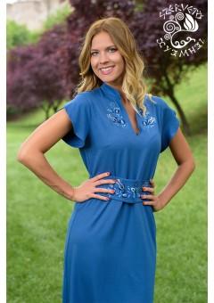 Napsugár ruha Szervető-jászsági hímzéssel - kék