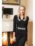 Csinszka téli ruha - Szervető-kalocsai hímzéssel - fekete