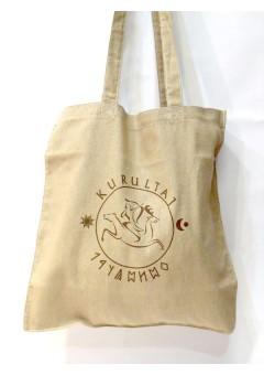 Kurultáj emblémás bevásárló táska - homok