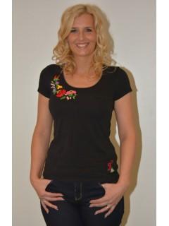 fcd816429d Kézzel hímzett kerek nyakú női póló