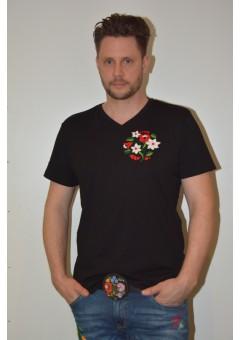 Kézzel hímzett fekete színű férfi póló