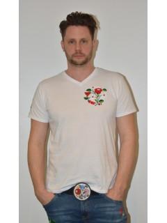 Kézzel hímzett fehér férfi póló