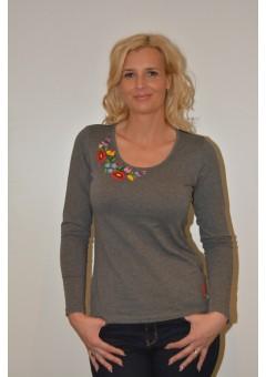 Hosszú ujjú kézzel hímzett szürke női póló tüllbetéttel