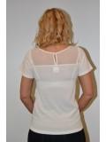 Rövid ujjú kézzel hímzett fehér női póló tüllbetéttel
