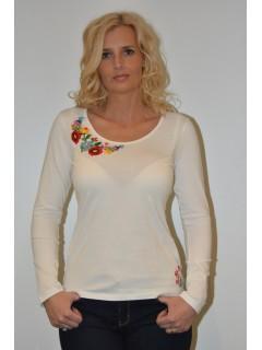 Hosszú ujjú kézzel hímzett fehér női póló tüllbetéttel I.