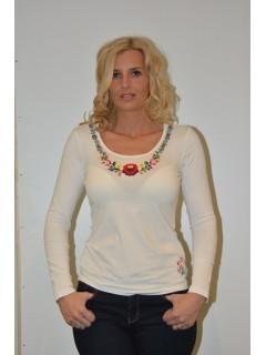 Kézzel hímzett női póló, hosszú ujjal