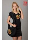 Szervető - Hímzett női  póló életfa mintával - fekete
