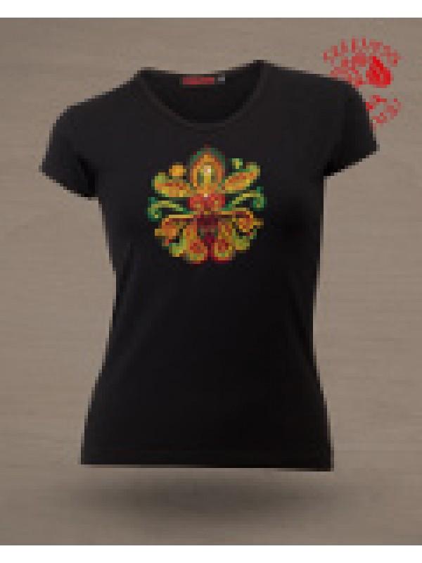 Szervető - Hímzett női póló életfa mintával - fekete 9644d243cb