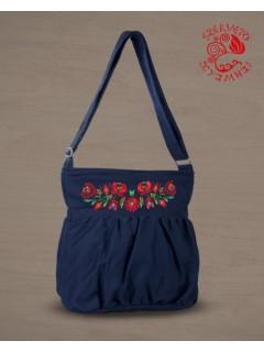 Szervető-matyó buggyos táska - sötétkék