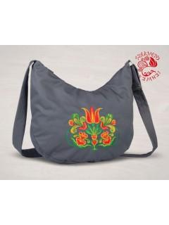 Székely tulipán félhold táska - szürke