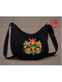 Székely tulipán félhold táska - fekete