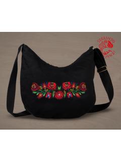 Szervető-matyó félhod táska - fekete, futómintás